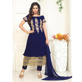 Craftsvilla Blue Color Georgette Embroidered Semi-stitched Layered Salwar Suit
