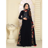 Craftsvilla Black Color Designer Georgette Embroidered Semi-stitched Anarkali Suit