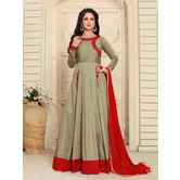 Craftsvilla Grey Color Bangalore Silk Embroidered  Semi-stitched Anarkali Suit