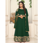Craftsvilla Green Color Georgette Embroidered Round Neck Circular Semi-stitched Anarkali Suit