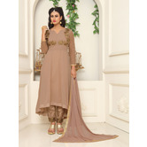 Craftsvilla Beige Color Georgette Embroidered V Neck Circular Semi-stitched Anarkali Suit