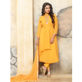 Craftsvilla Yellow Color Georgette Embroidered Semi-stitched A Line Style Salwar Suit
