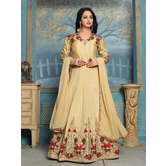 Craftsvilla Beige Color Designer Bangalore Silk Embroidered Semi-stitched Anarkali Suit