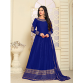 Craftsvilla Blue Color Bangalore Silk Embroidered  Semi-stitched Anarkali Suit