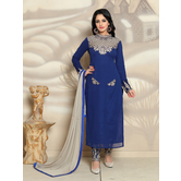 Craftsvilla Blue Color Georgette Embroidered Semi-stitched Straight Suit Salwar Suit