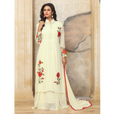 Craftsvilla Off White Color Georgette Embroidered Semi-stitched Layered Anarkali Suit