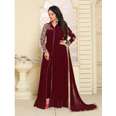 Craftsvilla Maroon Color Georgette Embroidered  Semi-stitched Anarkali Suit