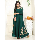 Craftsvilla Green Color Georgette Embroidered V Neck Circular Semi-stitched Anarkali Suit