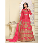 Craftsvilla Red Color Designer Bangalore Silk Embroidered Semi-stitched Anarkali Suit