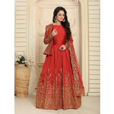 Craftsvilla Red Color Silk Embroidered Anarkali Suit