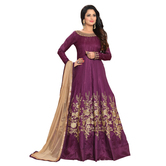 Craftsvilla Violet Color Bangalore Silk Embroidered Anarkali Suit