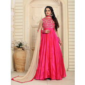 Craftsvilla Pink Color Silk Embroidered Round Neck Circular Semi-stitched Anarkali Suit