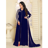 Craftsvilla Blue Color Georgette Embroidered  Semi-stitched Anarkali Suit