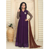 Craftsvilla Brown Color Designer Georgette Embroidered Semi-stitched Anarkali Suit