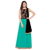 Craftsvilla Sky Blue Color Designer Georgette Embroidered Semi-stitched Anarkali Suit