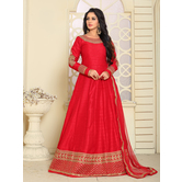Craftsvilla Red Color Bangalore Silk Embroidered Anarkali Suit