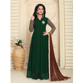 Craftsvilla Green Color Georgette Embroidered Collar Neck Circular Semi-stitched Anarkali Suit
