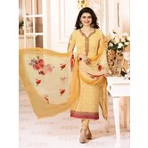 Craftsvilla Yellow Color Georgette Resham Embroidery Semi-stitched Salwar Suit