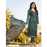 Craftsvilla Turquoise Color Crepe Resham Embroidery Semi-stitched Salwar Suit