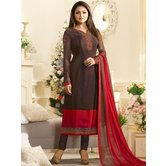 Craftsvilla Brown Color Crepe Embroidered Semi-stitched Straight Suit