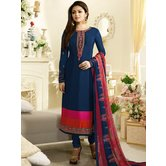 Craftsvilla Blue Color Crepe Embroidered Semi-stitched Straight Suit