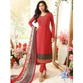 Craftsvilla Red Color Crepe  Embroidered Semi-stitched Straight Suit