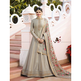 Craftsvilla Grey Color Silk Embroidered Semi-stitched Circular Anarkali Suit