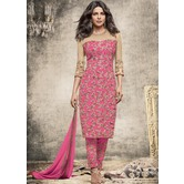 Craftsvilla Pink Color Georgette  Embroidered Semi-stitched Straight Suit