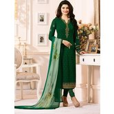 Craftsvilla Green Color Georgette Resham Embroidery Semi-stitched Salwar Suit