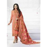 Craftsvilla Peach Color Silk  Embroidered Semi-stitched Straight Suit