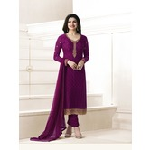 Craftsvilla Purple Color Georgette  Embroidered Semi-stitched Straight Suit