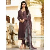 Craftsvilla Purple Color Crepe Resham Embroidery Semi-stitched Salwar Suit