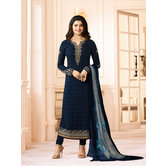 Craftsvilla Blue Color Georgette Resham Embroidery Semi-stitched Salwar Suit