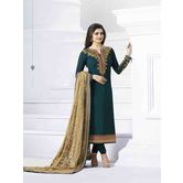 Craftsvilla Turquoise Color Silk  Embroidered Semi-stitched Straight Suit