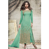 Craftsvilla Green Color Net  Embroidered Semi-stitched Straight Suit