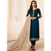 Craftsvilla Blue Color Resham Embroidery Semi-stitched Salwar Suit