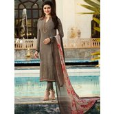 Craftsvilla Grey Color Crepe Resham Embroidery Semi-stitched Salwar Suit