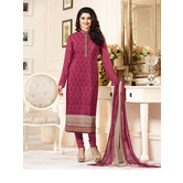 Craftsvilla Pink Color Crepe Embroidered Semi-stitched Straight Suit