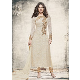 Craftsvilla White Color Net Embroidered Semi-stitched Straight Suit