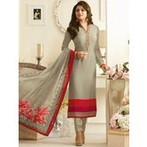 Craftsvilla Grey Color Crepe Embroidered Semi-stitched Straight Suit
