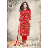 Craftsvilla Red Color Net Embroidered Semi-stitched Straight Suit