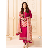 Craftsvilla Pink Color Silk Embroidered Semi-stitched Straight Suit