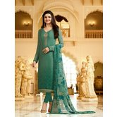 Craftsvilla Green Color Crepe Resham Embroidery Semi-stitched Salwar Suit