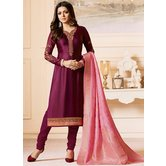 Craftsvilla Purple Color Resham Embroidery Semi-stitched Salwar Suit