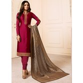 Craftsvilla Maroon Color Resham Embroidery Semi-stitched Salwar Suit