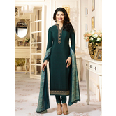 Craftsvilla Turquoise Color Crepe Embroidered Semi-stitched Straight Suit