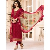 Craftsvilla Red Color Georgette Resham Embroidery Semi-stitched Salwar Suit