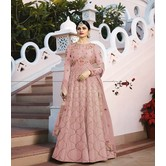 Craftsvilla Pink Color Silk Embroidered Semi-stitched Circular Anarkali Suit