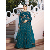 Craftsvilla Turquoise Color Silk Embroidered Semi-stitched Circular Anarkali Suit