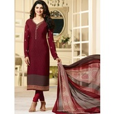 Craftsvilla Maroon Color Crepe Embroidered Semi-stitched Straight Suit